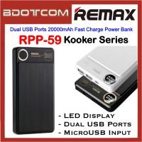 Remax RPP-59 Kooker Series Dual USB Ports 20000mAh Fast Charge Power Bank for Samsung / Apple / Xiaomi / Huawei / Oppo / Vivo