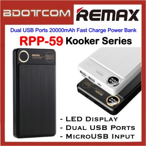 Remax RPP-59 Kooker Series Dual USB Ports 20000mAh Fast Charge Power Bank for Samsung / Apple / Xiaomi / Huawei / Oppo / Vivo