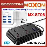 Moxom MX-ST06 3.4A 6 USB Ports + 2 PD Type-C + 4 Universal Power Socket Desktop Extension Home Charger with 2M Cord for Samsung / Apple / Xiaomi / Huawei / Oppo / Vivo