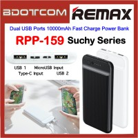 Remax RPP-159 Suchy Series Dual USB Ports 10000mAh Fast Charge Power Bank for Samsung / Apple / Xiaomi / Huawei / Oppo / Vivo