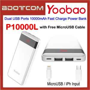 Yoobao P10000L Dual USB Ports 10000mAh Fast Charge Power Bank with MicroUSB Cable for Samsung / Apple / Xiaomi / Huawei / Oppo / Vivo