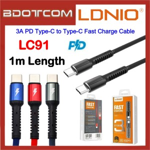 LDNIO LC91 3A PD Type-C to Type-C Fast Charge 1M Cable Macbook Air / Macbook Pro / Huawei P20 / P20 Pro / Mate 10 / Mate 10 Pro / Mate 20 / Mate 20X / Mate 20 Pro / P30 / P30 Pro