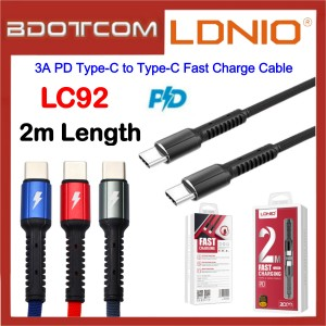 LDNIO LC92 3A PD Type-C to Type-C Fast Charge 2M Cable Macbook Air / Macbook Pro / Huawei P20 / P20 Pro / Mate 10 / Mate 10 Pro / Mate 20 / Mate 20X / Mate 20 Pro / P30 / P30 Pro