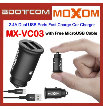Moxom MX-VC03 2.4A Dual USB Ports Fast Charge Car Charger with MicroUSB Cable for Samsung / Apple / Huawei / Xiaomi / Oppo / Vivo / Toyota / Honda / Mazda / Proton / Perodua, BMW / Benz Mercedes