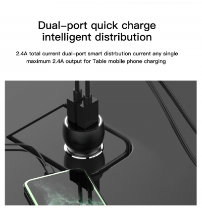 Moxom MX-VC04 2.4A Dual USB Ports Fast Charge Car Charger with MicroUSB Cable for Samsung / Apple / Huawei / Xiaomi / Oppo / Vivo / Toyota / Honda / Mazda / Proton / Perodua, BMW / Benz Mercedes