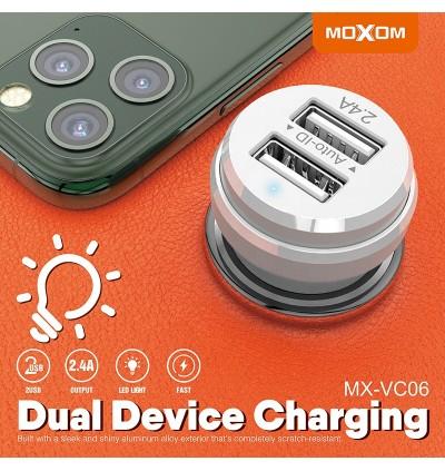 Moxom MX-VC06 Lighthouse 2.4A Dual USB Ports Fast Charge Car Charger for Samsung / Apple / Huawei / Xiaomi / Oppo / Vivo / Toyota / Honda / Mazda / Proton / Perodua, BMW / Benz Mercedes