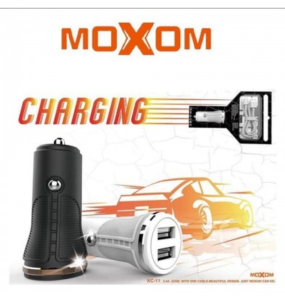 Moxom KC-11 2.4A Dual USB Ports Fast Charge Car Charger with MicroUSB Cable for Samsung / Apple / Huawei / Xiaomi / Oppo / Vivo / Toyota / Honda / Mazda / Proton / Perodua, BMW / Benz Mercedes