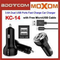 Moxom KC-14 3.6A Dual USB Ports Fast Charge Car Charger with MicroUSB Cable for Samsung / Apple / Huawei / Xiaomi / Oppo / Vivo / Toyota / Honda / Mazda / Proton / Perodua, BMW / Benz Mercedes
