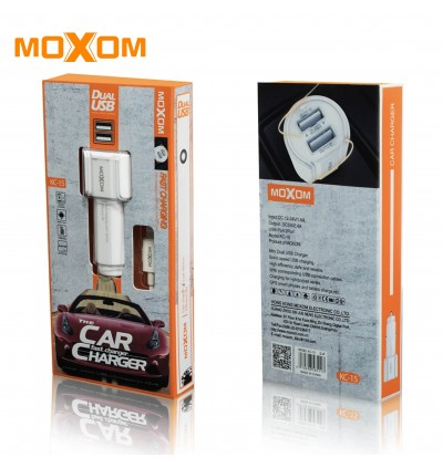 Moxom KC-15 2.4A Dual USB Ports Fast Charge Car Charger with MicroUSB Cable for Samsung / Apple / Huawei / Xiaomi / Oppo / Vivo / Toyota / Honda / Mazda / Proton / Perodua, BMW / Benz Mercedes