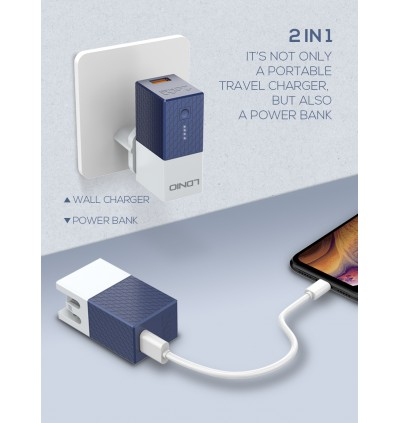 LDNIO PA307 2 in 1 Single USB Port Home Travel Wall Charger + 2600mAh Fast Charge Power Bank for Samsung / Apple / Huawei / Xiaomi / Oppo / Vivo