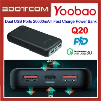 Yoobao Q20 18W PD Type-C + QC3.0 Dual USB Ports 20000mAh Fast Charge Power Bank for Samsung / Apple / Xiaomi / Huawei / Oppo / Vivo
