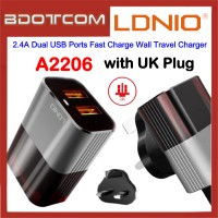 LDNIO A2206 2.4A Dual USB Ports Fast Charge Wall Travel Charger for Samsung / Apple / Xiaomi / Huawei / Oppo / Vivo