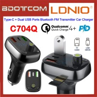 LDNIO C704Q LED Display 30W PD Type-C + QC4.0 Dual USB Ports Bluetooth FM Transmitter Fast Charge Car Charger for Samsung / Apple / Huawei / Xiaomi / Oppo / Vivo / Toyota / Honda / Mazda / Proton / Perodua, BMW / Benz Mercedes