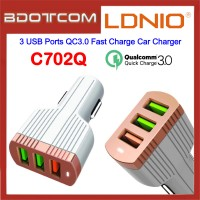 LDNIO C702Q 3 USB Ports QC3.0 Fast Charge Car Charger for Samsung / Apple / Huawei / Xiaomi / Oppo / Vivo / Toyota / Honda / Mazda / Proton / Perodua, BMW / Benz Mercedes