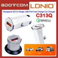 LDNIO C313Q Hexagonal QC3.0 Single USB Port Fast Charge Car Charger for Samsung / Apple / Huawei / Xiaomi / Oppo / Vivo / Toyota / Honda / Mazda / Proton / Perodua, BMW / Benz Mercedes