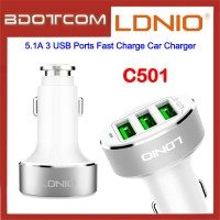 LDNIO C501 5.1A 3 USB Ports Fast Charge Car Charger for Samsung / Apple / Huawei / Xiaomi / Oppo / Vivo / Toyota / Honda / Mazda / Proton / Perodua, BMW / Benz Mercedes