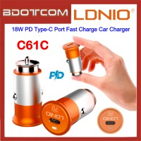 LDNIO C61C 18W PD Type-C Port Fast Charge Car Charger for Samsung / Apple / Huawei / Xiaomi / Oppo / Vivo / Toyota / Honda / Mazda / Proton / Perodua, BMW / Benz Mercedes