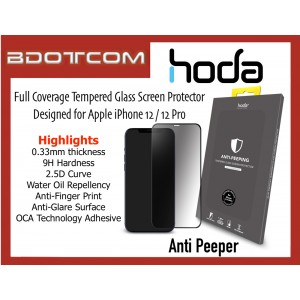 Original HODA 0.33mm 2.5D 9H Full Coverage Tempered Glass Screen Protector for Apple iPhone 12 / 12 Pro (ANTI-PEEPING)