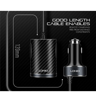 LDNIO C502 5.1A Dual USB Ports + Extension Dual USB Charging Hub Fast Charge Car Charger with Backseat Clip for Samsung / Apple / Huawei / Xiaomi / Oppo / Vivo / Toyota / Honda / Mazda / Proton / Perodua, BMW / Benz Mercedes