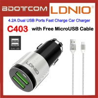 LDNIO C403 4.2A Dual USB Ports Fast Charge Car Charger with MicroUSB Cable for Samsung / Apple / Huawei / Xiaomi / Oppo / Vivo / Toyota / Honda / Mazda / Proton / Perodua, BMW / Benz Mercedes