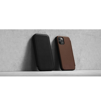 Apple iPhone 12 / 12 Pro 6.1' Nomad Rugged Folio Horween Leather Flip Cover with Card Slot