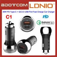 LDNIO C1 36W PD Type-C + QC3.0 Single USB Port Fast Charge Car Charger for Samsung / Apple / Huawei / Xiaomi / Oppo / Vivo / Toyota / Honda / Mazda / Proton / Perodua, BMW / Benz Mercedes