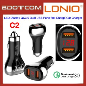 LDNIO C2 LED Display QC3.0 Dual USB Ports fast Charge Car Charger for Samsung / Apple / Huawei / Xiaomi / Oppo / Vivo / Toyota / Honda / Mazda / Proton / Perodua, BMW / Benz Mercedes