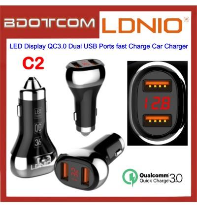 LDNIO C2 LED Display QC3.0 Dual USB Ports fast Charge Car Charger for Samsung / Apple / Huawei / Xiaomi / Oppo / Vivo / Toyota / Honda / Mazda / Proton / Perodua, BMW / Benz Mercedes