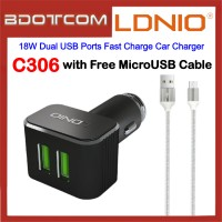 LDNIO C306 18W Dual USB Ports Fast Charge Car Charger with MicroUSB Cable for Samsung / Apple / Huawei / Xiaomi / Oppo / Vivo / Toyota / Honda / Mazda / Proton / Perodua, BMW / Benz Mercedes