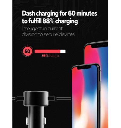 LDNIO C308 18W Dual USB Ports Fast Charge Car Charger with MicroUSB Cable for Samsung / Apple / Huawei / Xiaomi / Oppo / Vivo / Toyota / Honda / Mazda / Proton / Perodua, BMW / Benz Mercedes