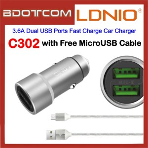 LDNIO C302 3.6A Dual USB Ports Fast Charge Car Charger with MicroUSB for Samsung / Apple / Huawei / Xiaomi / Oppo / Vivo / Toyota / Honda / Mazda / Proton / Perodua, BMW / Benz Mercedes