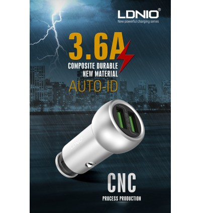 LDNIO C401 3.6A Dual USB Ports Fast Charge Car Charger with MicroUSB Cable for Samsung / Apple / Huawei / Xiaomi / Oppo / Vivo / Toyota / Honda / Mazda / Proton / Perodua, BMW / Benz Mercedes