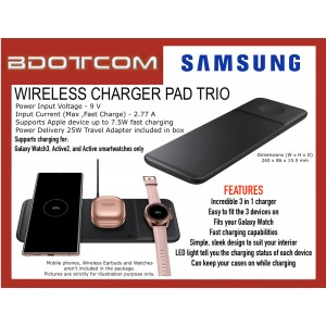 Original Samsung Wireless Charger Pad Trio Fast Wireless Charging for Samsung Galaxy Note20 Ultra 5G, S20 FE, S20 Ultra, S20+, Galaxy Z Fold2, Z Flip, Galaxy Watch3, Active2, Active, Galaxy Buds Live, Apple iPhone 12 Pro Max