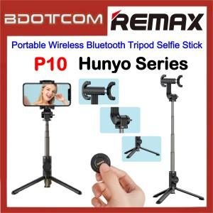 Remax P10 Hunyo Series Portable Wireless Bluetooth Tripod Selfie Stick with Bluetooth Remote Controller for Samsung / Apple / Xiaomi / Huawei / Oppo / Vivo / Realme / OnePlus