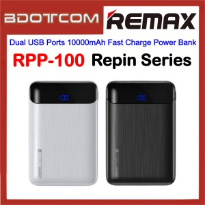 Remax RPP-100 Repin Series Dual USB Ports 10000mAh Fast Charge Power Bank for Samsung / Apple / Xiaomi / Huawei / Oppo / Vivo / Realme / Oneplus