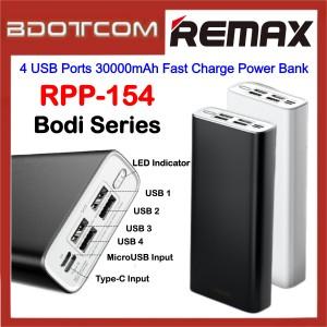 Remax RPP-154 Bodi Series 4 USB Ports 30000mAh Fast Charge Power Bank for Samsung / Apple / Xiaomi / Huawei / Oppo / Vivo / Realme / OnePlus