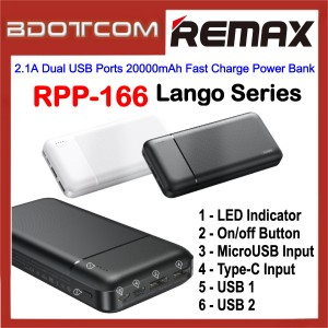 Remax RPP-166 Lango Series 2.1A Dual USB Ports 20000mAh Fast Charge Power Bank for Samsung / Apple / Huawei / Xiaomi / Oppo / Vivo / Realme / OnePlus