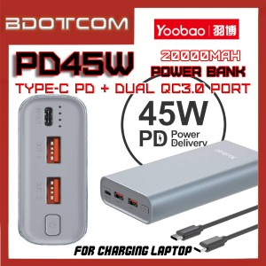 Yoobao PD45W 20000mAh 45W Type-C PD + Dual USB Port QC3.0 Fast Charge Power Bank