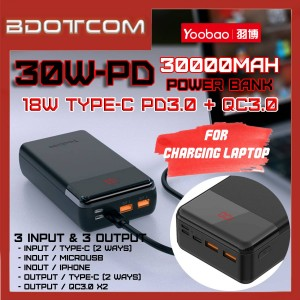 Yoobao 30W-PD 30000mAh 18W Two-Ways Type-C PD3.0 (PPS) + MicroUSB + Lightning + Dual QC3.0 USB Port  Fast Charging Power Bank