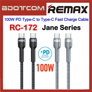 Remax RC-172 Jane Series 100W PD Type-C to Type-C Fast Charge Cable for Samsung / Apple / Xiaomi / Huawei / Oppo / Vivo / Realme / OnePlus