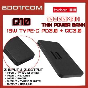 Yoobao Q10 10000mAh 18W Type-C PD + Dual QC3.0 Port Fast Charge Power Bank