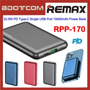 Remax RPP-170 22.5W PD Type-C Port + Single USB Port 10000mAh Fast Charge Power Bank for Samsung / Apple / Huawei / Xiaomi / Huawei / Oppo / Vivo / Realme / OnePlus