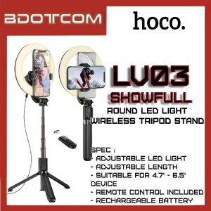 Hoco LV03 Showfull Live Broadcast Round LED Light Wireless Selfie Tripod Stand with Phone Holder