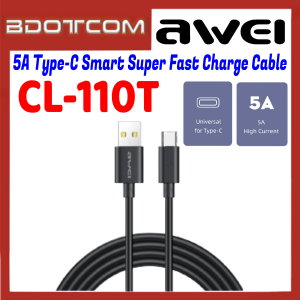 Awei CL-110T 5A Type-C Smart Super Fast Charge Data Cable for Samsung / Apple / Xiaomi / Huawei / Oppo / Vivo / Realme / OnePlus