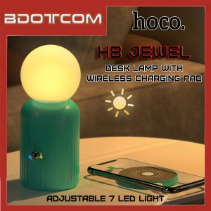 Hoco H8 Jewel 2 in 1 Colorful Night Light + Wireless Charging Pad Table Desk Lamp