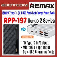 Remax RPP-197 Hunyo 2 Series 18W PD Type-C + QC 4 USB Ports 30000mAh Fast Charge Power Bank for Samsung / Apple / Xiaomi / Huawei / Oppo / Vivo / Realme / OnePlus