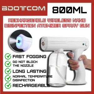 Rechargeable Wireless Charging Cordless 800ml Nano Disinfection Atomizer Spray Gun Cleaning Sprayer