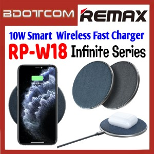 Remax RP-W18 Infinite Series 10W Smart  Wireless Fast Charger for Samsung / Apple / Xiaomi / Huawei / Oppo / Vivo / Realme / OnePlus / Apple Airpods