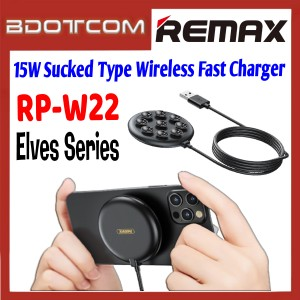 Remax RP-W22 Elves Series 15W Sucked Type Wireless Fast Charger for Samsung / Apple / Xiaomi / Huawei / Oppo / Vivo / Realme / OnePlus