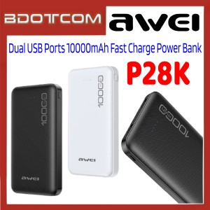 Awei P28K 2.1A Dual USB Ports 10000mAh Fast Charge Power Bank for Samsung / Apple / Xiaomi / Huawei / Oppo / Vivo / Realme / OnePlus